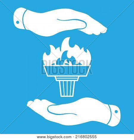 white torch icon with flame and flat hands on a blue background