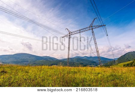 High Voltage Power Lines Tower In Carpathian Mount