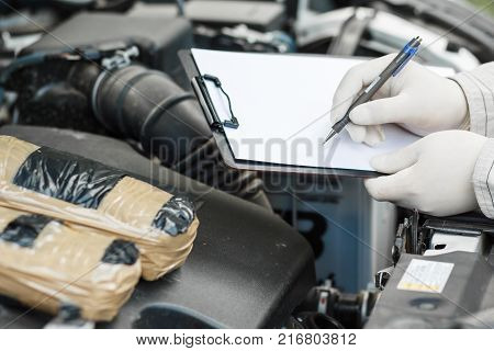 Investigation Of Crimes. Evidence At The Crime Scene. Drugs. Drugs In Cars.