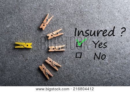 Car, life insurance, home, travel and healt insurance. Insure concept. Survey with question Insured, Yes or no