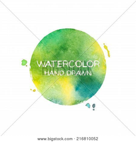 Green abstract aquarelle background. Hand drawn watercolor stains, splashes and drops. Colored vector texture handmade