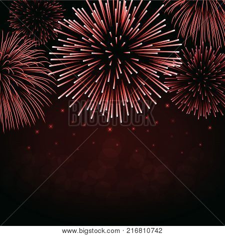 Firework sparkle background card. Beautiful bright fireworks isolated on black background. Light red decoration fireworks for Christmas card New Year celebration Vector illustration