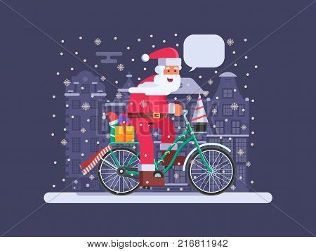 Amsterdam Santa Claus with speech bubble riding bicycle with gifts on Xmas Europe city background. Christmas bike with Father Frost delivering presents concept illustration. Winter holidays banner.