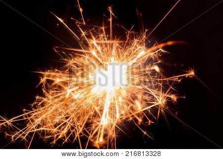 Burning Bengal Fire. Sparks of Bengal fire
