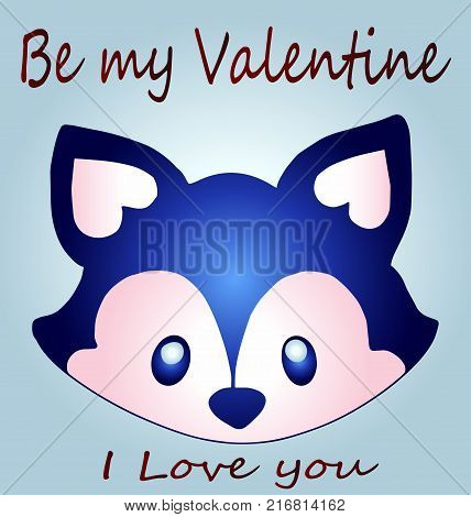 Dear valentine - a dog close-up - be my valentine. A beautiful cartoon sketch of a raccoon dog, an idea for a greeting card. Day of Love
