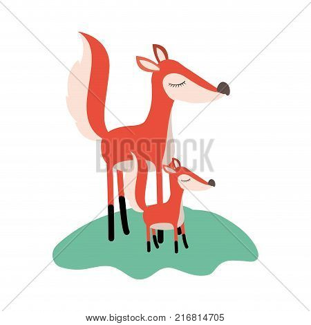 cartoon fox mom and cub over grass in colorful silhouette on white background vector illustration