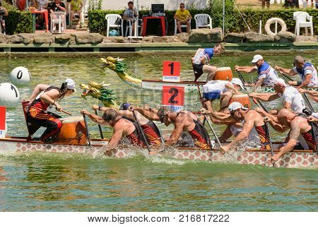 Rome Italy - July 30 2016: Dragon boat crews compete at the european championships held in Italy in 2016 summer England and Spain crews during the race