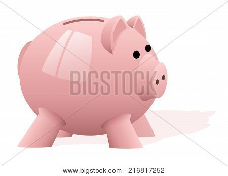 A pink pig piggy bank on a white background. Accumulation of money. Financial investments. News about banking