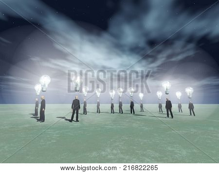 Surreal scene. Men with bright light bulbs above head. 3D rendering.