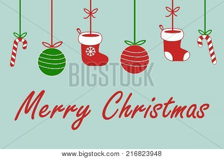 merry christmas sign text with santa claus socks christmas ball and lolipop candy hanging on ribbon in red white and green on light blue background cute vector illustration
