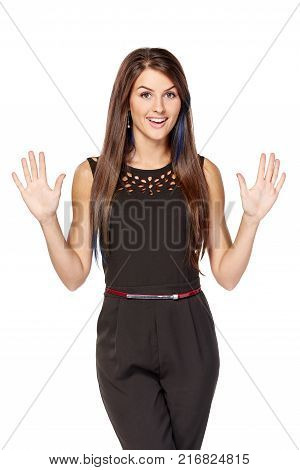 Hand counting ten fingers. Happy woman indicating the number ten with her fingers