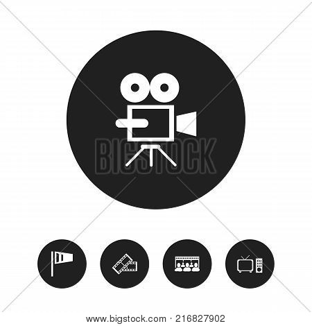 Set Of 5 Editable Cinema Icons. Includes Symbols Such As Audience, Movie Reel, Record Cam And More