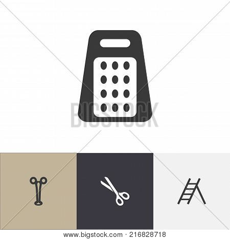 Set Of 4 Editable Instrument Icons. Includes Symbols Such As Shredder, Staircase, Forceps And More
