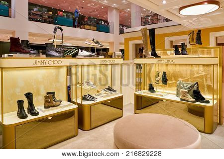ROME, ITALY - CIRCA NOVEMBER, 2017: Jimmy Choo shoes on display at a second flagship store of Rinascente in Rome.
