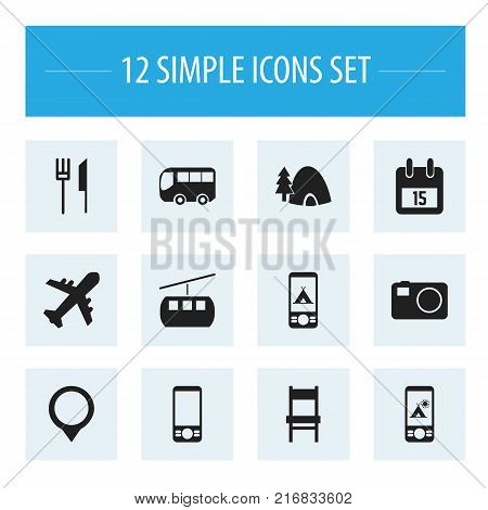 Set Of 12 Editable Trip Icons. Includes Symbols Such As Motorbus, Date Block, Tabernacle And More