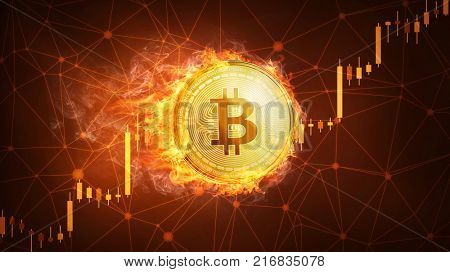 Golden bitcoin coin in fire with bull trading stock chart. Bitcoin Gold and Cash lightning blockchain hard fork concept. Cryptocurrency coin illustration on polygon peer to peer network background.