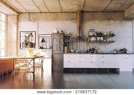 The modern loft kirchen interior. 3d concept
