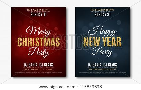 Set posters for Christmas and New Year party. Invitation card. The text is made of gold glitters. Red and blue backgrounds with glare bokeh. The names of the DJ and club. Vector illustration