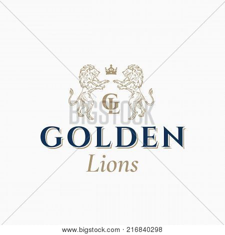 Golden Lions Abstract Vector Sign, Symbol or Logo Template. Hand Drawn Lion Sillhouettes with Classy Retro Typography. Vintage Heraldry Vector Crest or Emblem. Isolated.