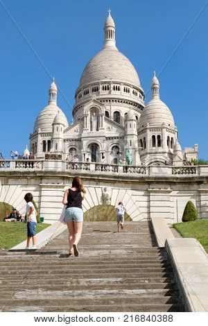 PARIS,FRANCE -AUGUST 4,2017 :The Sacre Coeur Basilica in Paris at the summit of the hill of Montmartre