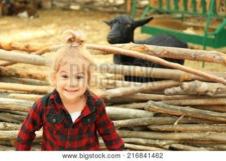 Cute little girl near enclosure with goats on farm