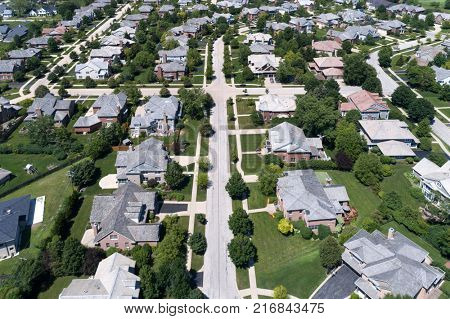 Aerial view of a neighborhood in suburban Chicago during summer. poster