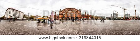 BREMEN, GERMANY - OCTOBER 7, 2017: 360 degree Skyline of Bremen Train Station square in the centre of the Hanseatic City, Germany. Panoramic montage of 25 images