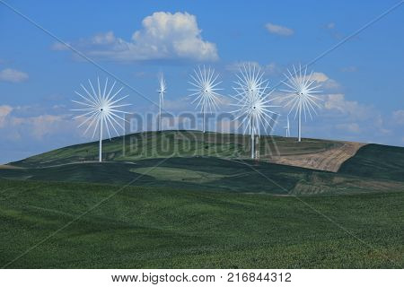 Wind Turbines in Palouse Washington Time lapsed for Fun