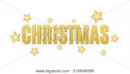 Christmas luxury text of golden glitters. Festive background for the flyer. Christmas golden stars. Golden glitter. Golden sand. Vector illustration