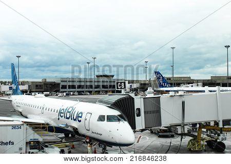 JetBlue planes at Boston Logan Airport, May 15 2017, horizontal aspect