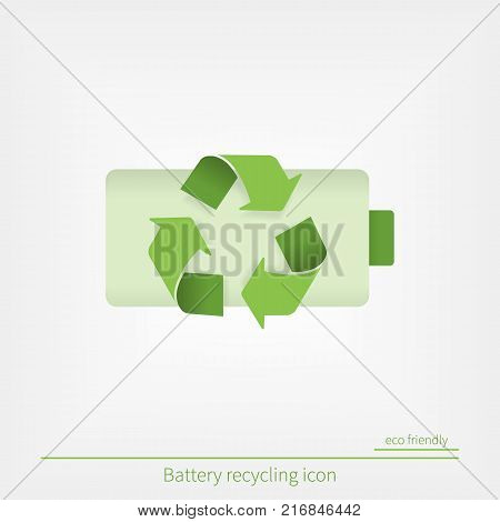 Battery recycling line icon in flat style. Reuse, reduce, recycle. ecologic sign in green material design