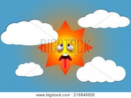 illustration of hot summer expression face from sun
