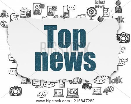 News concept: Painted blue text Top News on Torn Paper background with  Hand Drawn News Icons