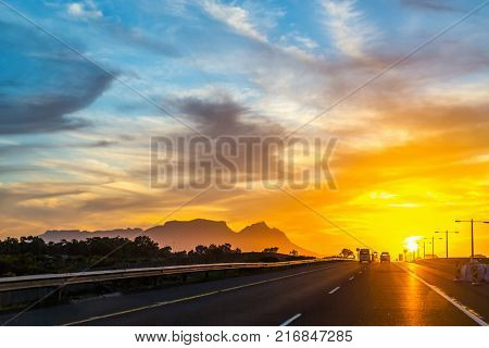 Beautiful sunset from road near Cape Town in South Africa
