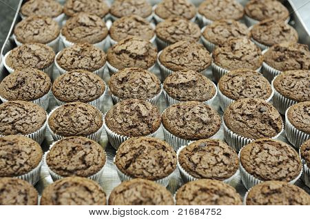 chocolate cupcake in paper container
