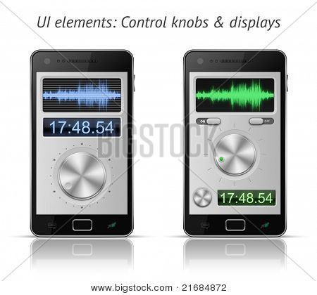 UI elements for mobile devices. Control knobs and displays. EPS 10 vector illustration