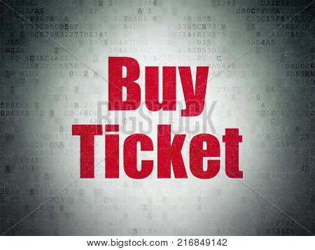 Travel concept: Painted red word Buy Ticket on Digital Data Paper background