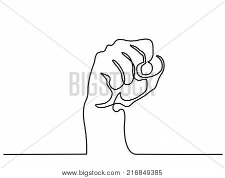 Continuous line drawing. Hand with fist. Vector illustration
