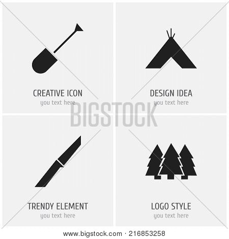 Set Of 4 Editable Camping Icons. Includes Symbols Such As Spade, Knife, Tabernacle And More