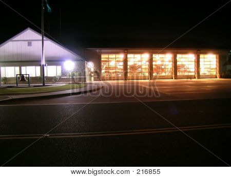 Fire House At Night