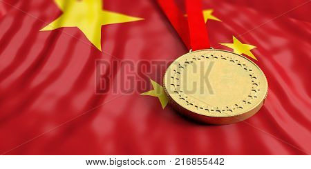 Gold Medal On China Flag. Horizontal, Full Frame Closeup View. 3D Illustration