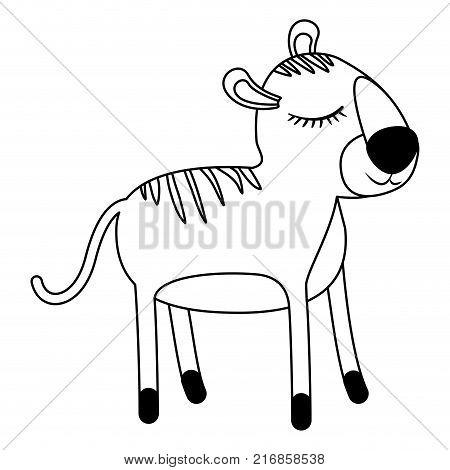 female tiger cartoon with closed eyes expression in monochrome silhouette vector illustration