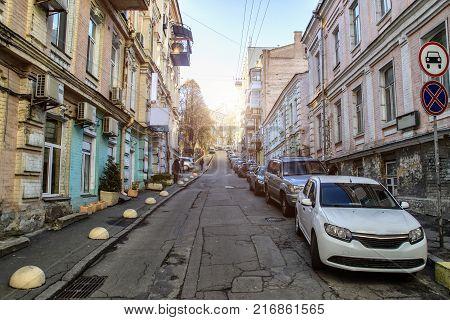 Quiet European street, quiet sunny morning in the city