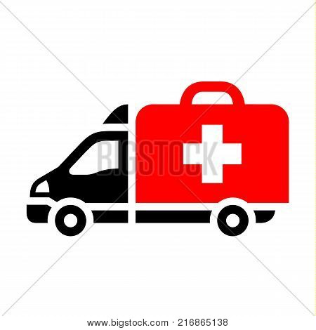 Delivery truck, flat red icon. Vector illustration