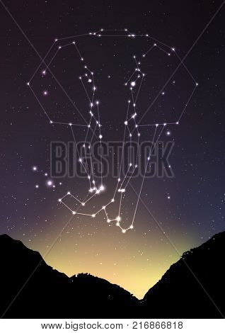 Elephant constellation vector illustration. Elephant in constellations and star on mountain forest landscape. Starry elephant in deep dark sky with line and shiny dots, vector art