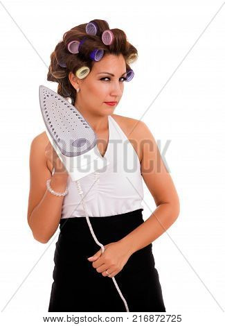 dangerous housewife threa with iron in hand