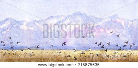 Watercolor painting. Hand drawn illustration. Mountain landscape with flying birds. Nature views background. Blue mountains with snow tops.
