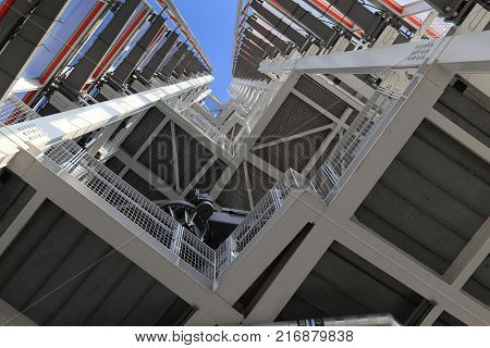 LONDON, GREAT BRITAIN - MAY 16, 2014: It is a view from the inside to the top of the Skyscraper Shard.