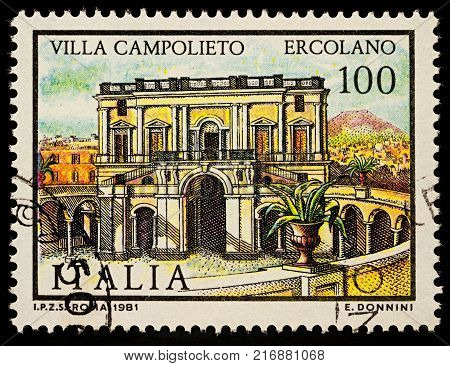 Moscow Russia - December 05 2017: A stamp printed in Italy shows Villa Campolieto in Ercolano series