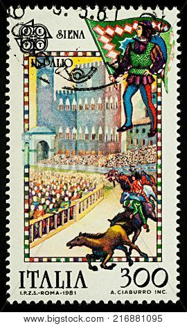 Moscow Russia - December 05 2017: A stamp printed in Italy shows Palio - a horse race in Siena ancient city in Tuscany Italy series